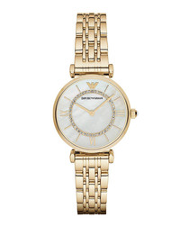 Gold-tone & mother of pearl watch