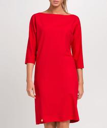 Red boat neck knee length dress
