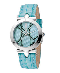 Aqua blue leather snake-effect watch