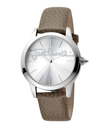 Silver-tone & light brown leather watch