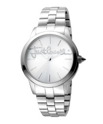 Silver-tone steel bracelet watch