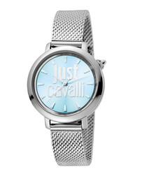 Silver-tone steel slim mesh watch