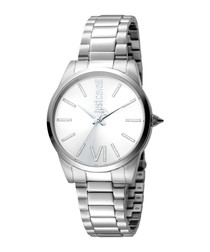 Silver-tone steel crystal marker watch