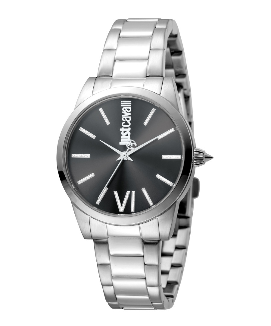 Silver-tone & black crystal marker watch Sale - JUST CAVALLI