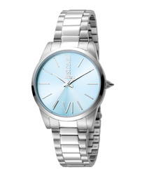 Silver-tone & blue stainless steel watch