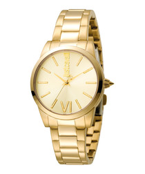 Gold-tone steel crystal marker watch