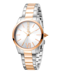 Silver-tone & rose gold-tone steel watch