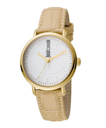 Gold-tone & beige leather watch