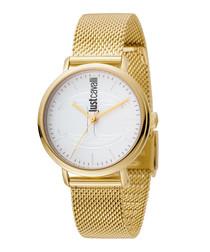 Gold-tone & white steel mesh watch