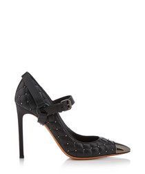 Women's Mary Jane black leather heels