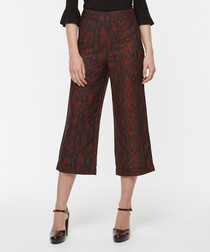 Red & black lace-effect culottes