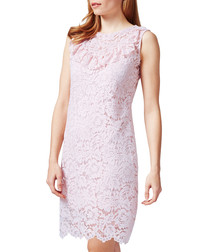 Pale pink floral lace ruffle mini dress
