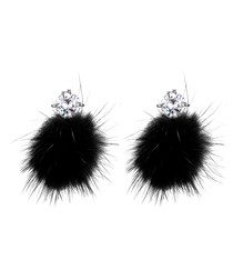 Wild Queen black faux fur earrings