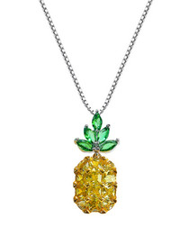Pineapple 18ct gold-plated necklace