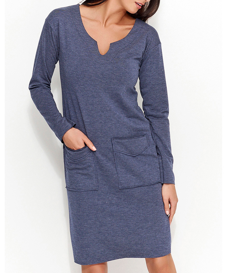 Blue cotton blend pocket melange dress Sale - numinou