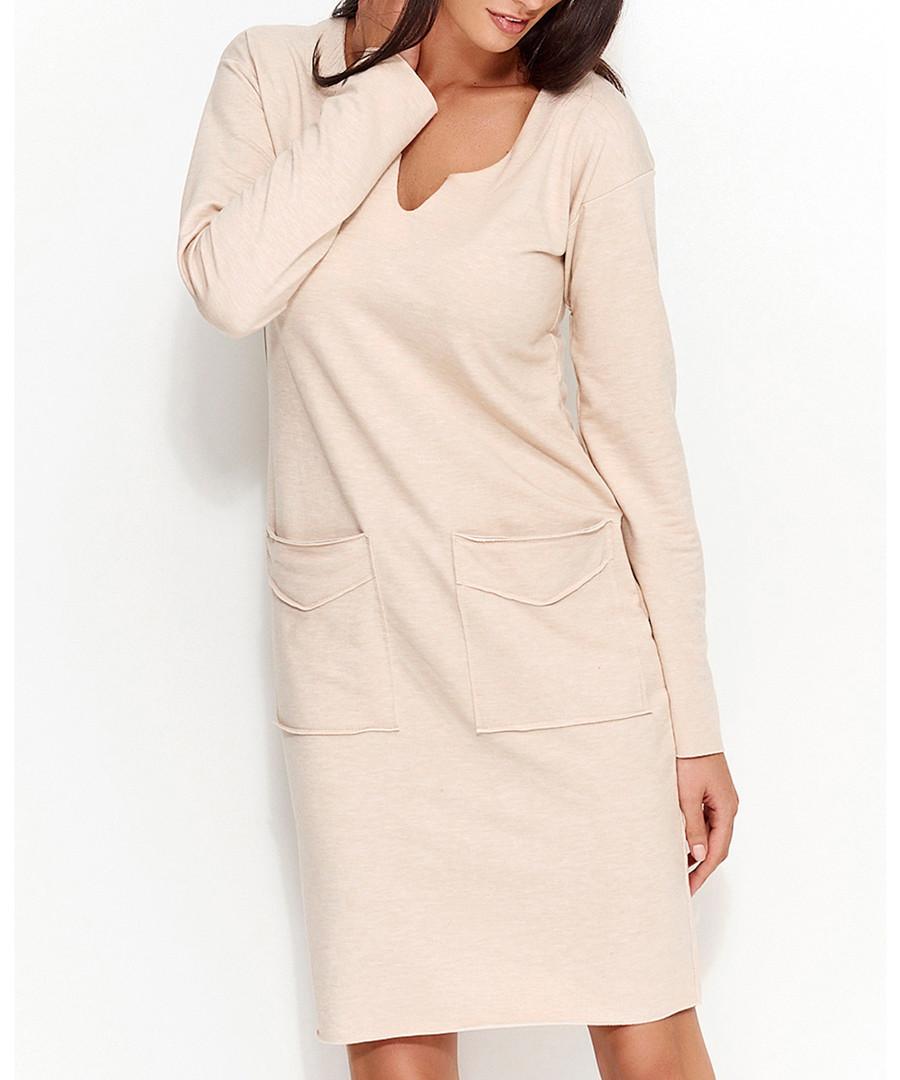 Nude cotton blend pocket dress Sale - numinou