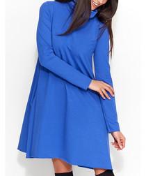 Blue cotton blend melange swing dress