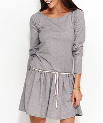 Grey cotton blend gathered dress