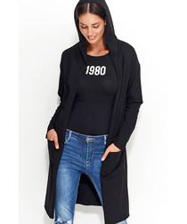 Black cotton blend hooded cardigan