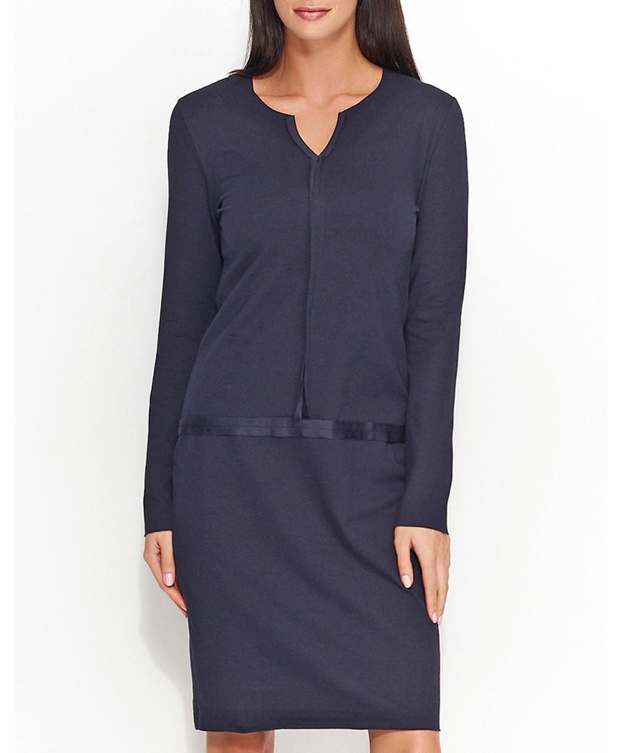 Navy cotton blend trim detail dress Sale - numinou