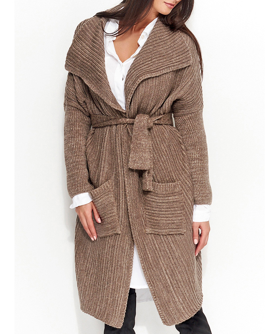 Cappuccino knitted tie-front cardigan Sale - numinou