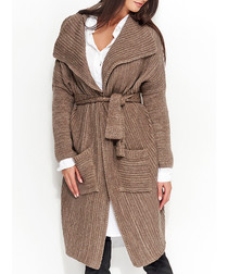Cappuccino knitted tie-front cardigan