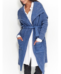 Blue knitted tie-front cardigan