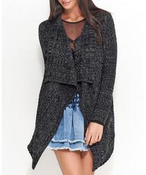 Black & graphite knit waterfall cardigan