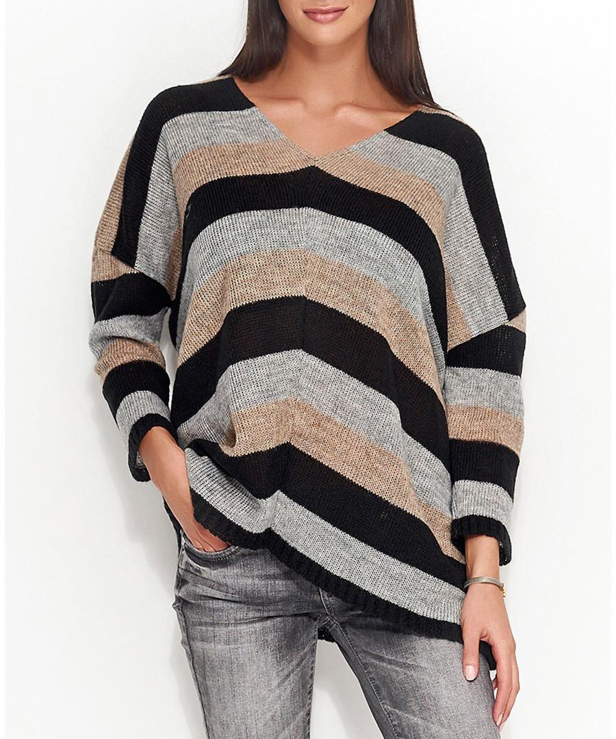 Grey & black V-neck jumper Sale - numinou