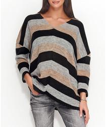 Grey & black v-neck stripe jumper