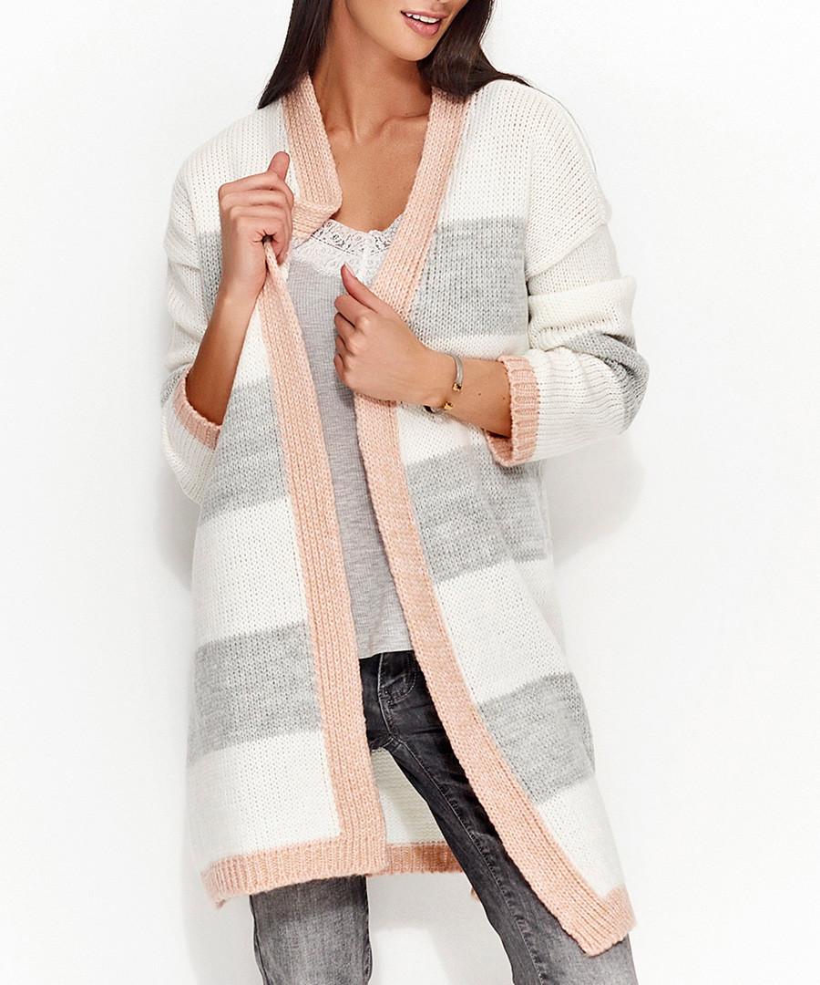 Light grey & salmon striped cardigan Sale - numinou