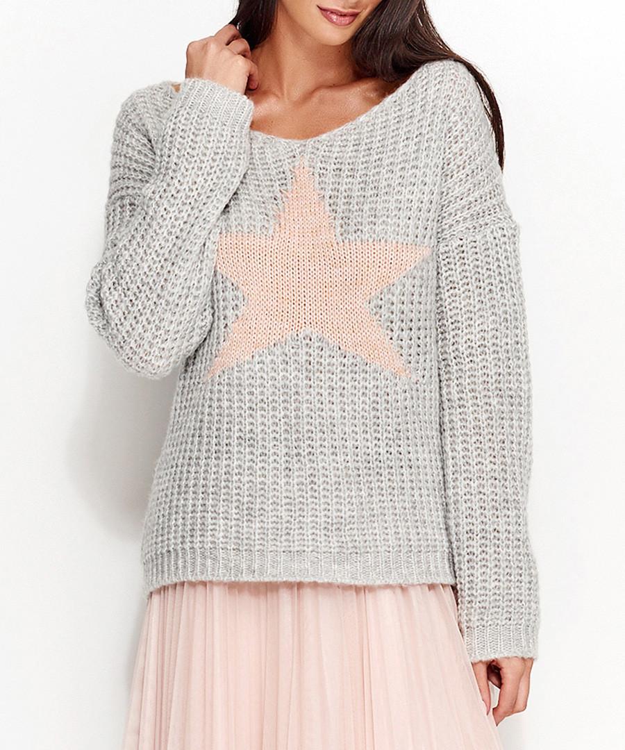 Light grey mohair blend star jumper Sale - numinou