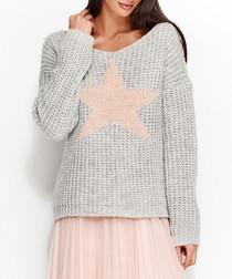 Light grey mohair blend star jumper