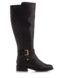 Polished black leather quilted boots