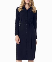 Black button-up midi dress