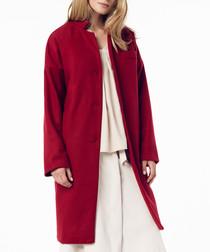 Red wool blend long coat
