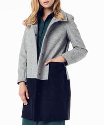 Light grey & black wool blend block coat