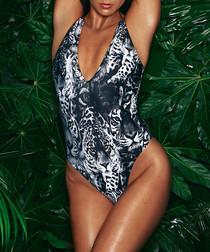 Roxana animal print lace-up swimsuit