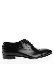 Black leather patent lace-up shoes