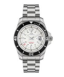 Diver silver-tone & white steel watch