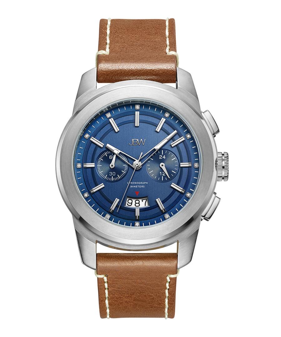 Mohawk blue & brown leather watch Sale - jbw