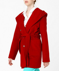 Red cotton blend robe coat