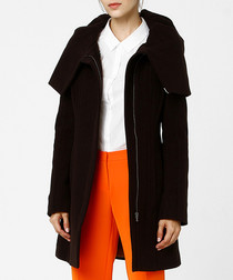 Brown wool blend oversized collar coat