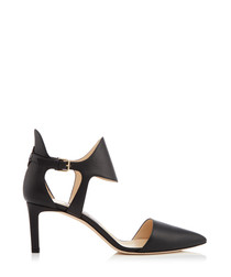 Moon 65 black leather pointed courts