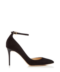 Lucy 85 black suede D'orsay courts