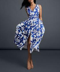 Royal blue & ivory printed dress