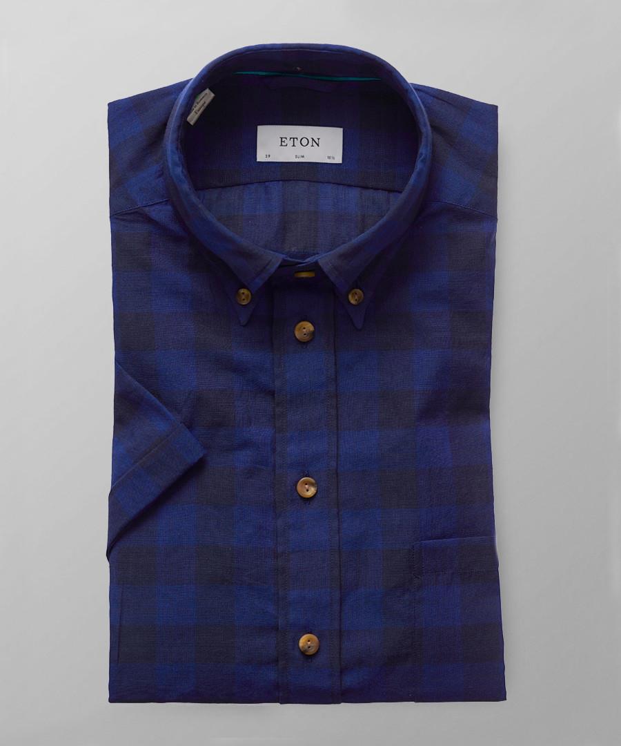 Blue check short sleeve shirt Sale - ETON