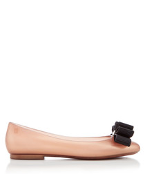 Doll Bow champagne ballet flats
