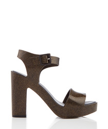 Mar black glitter strappy heels