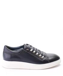 Dark blue leather sneakers